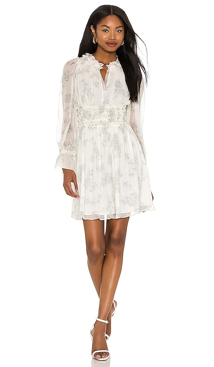 Long Sleeve Toile Fleur Ruched Dress Rebecca Taylor $425