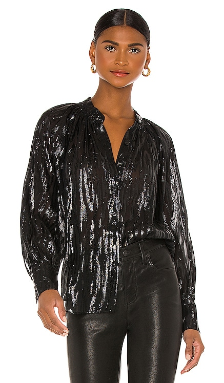 Long Sleeve Safari Ruffle Blouse Rebecca Taylor $295 NEW
