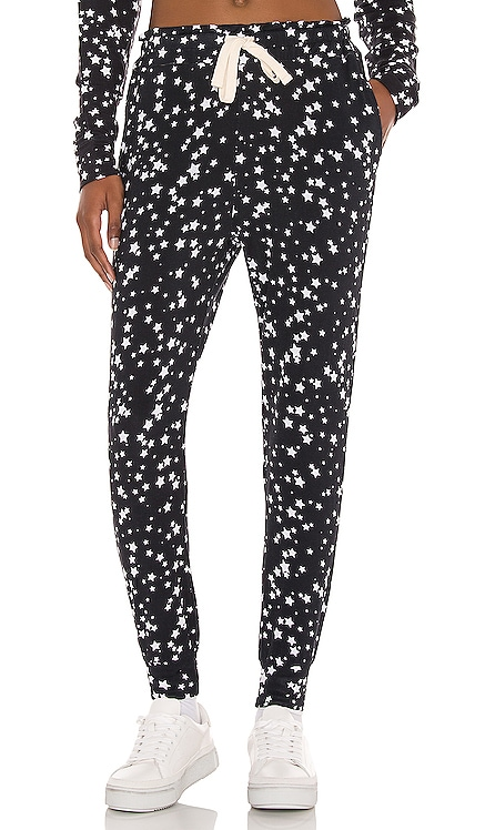 Black With White Star Loungepants Stripe & Stare $80 NEW
