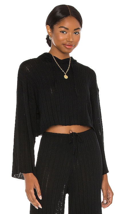 LOUNGE Baha Ribbed Crop Hoodie SNDYS $55 NEW