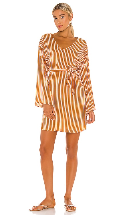 Stripe Long Sleeve Cover Up Dress Seafolly $128 NEW