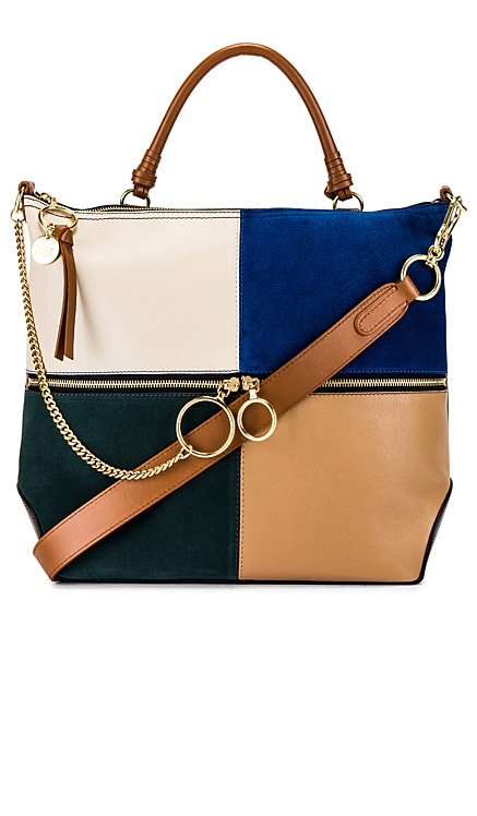 Emy Large Suede & Leather Satchel See By Chloe $525
