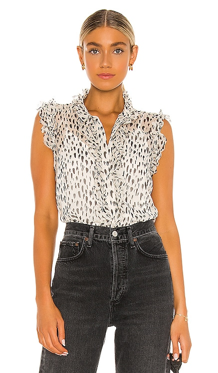 Sleeveless Top With Ruffles 7 For All Mankind $178 NEW
