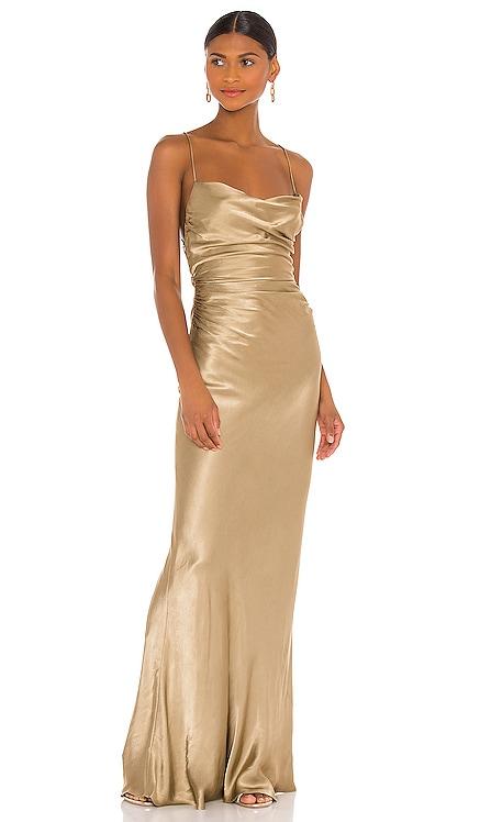 Sophia Backless Ruched Maxi Dress Shona Joy $385