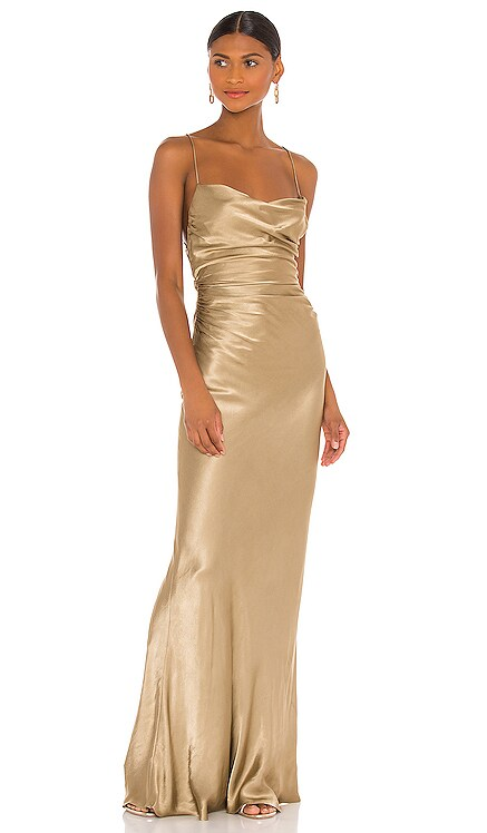 Sophia Backless Ruched Maxi Dress Shona Joy $385 BEST SELLER
