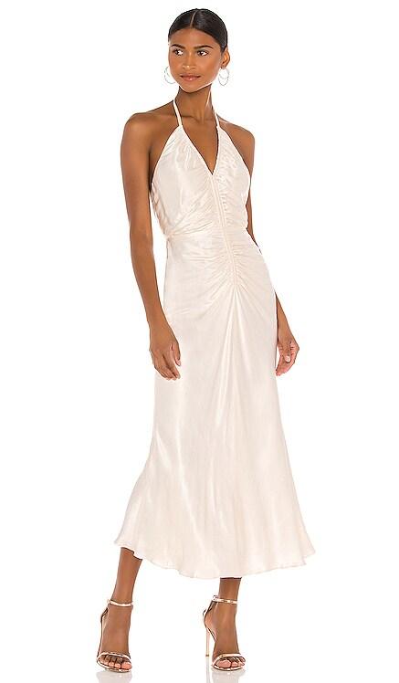 Sophia Halter Ruched Midi Dress Shona Joy $365