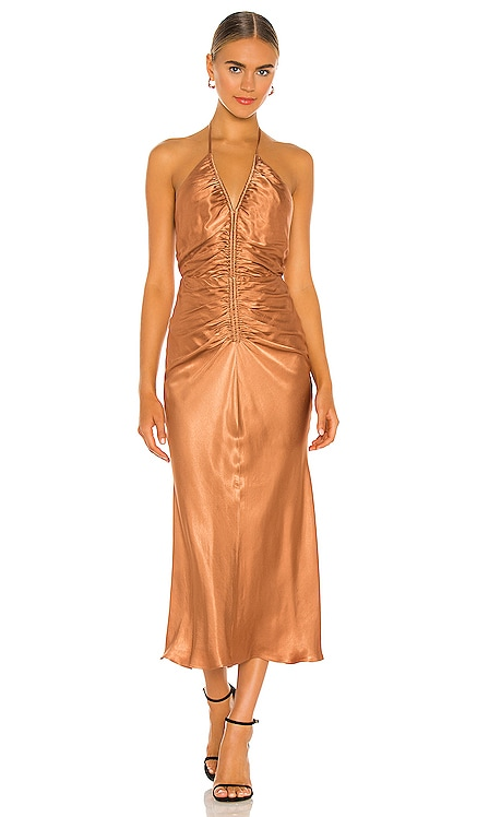 Gala Halter Ruched Midi Dress Shona Joy $208