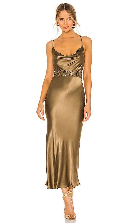 Gala Bias Midi Dress With Belt Shona Joy $260