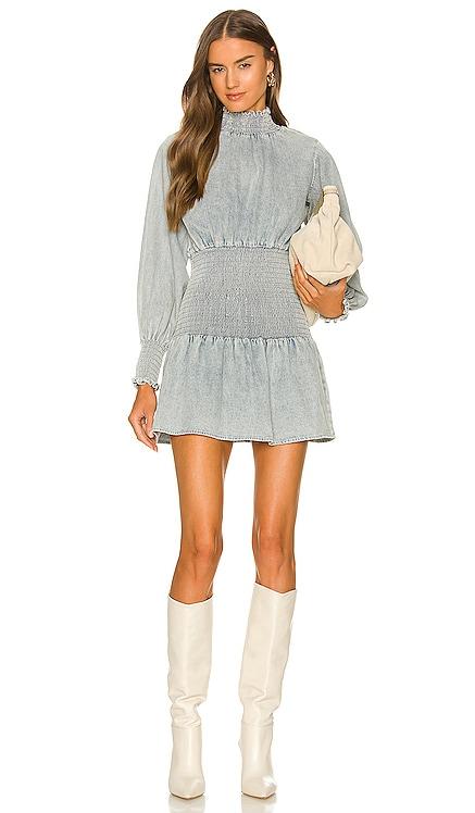 Smocked Denim Mini Dress Something Navy $165 NEW