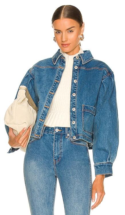 Puff Shoulder Denim Chore Jacket Something Navy $150 NEW