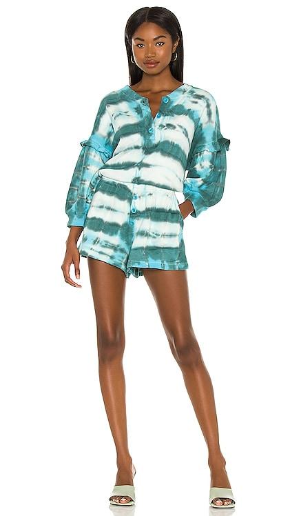 Esmeralda Tie Dye Henley Romper Something Navy $135 NEW