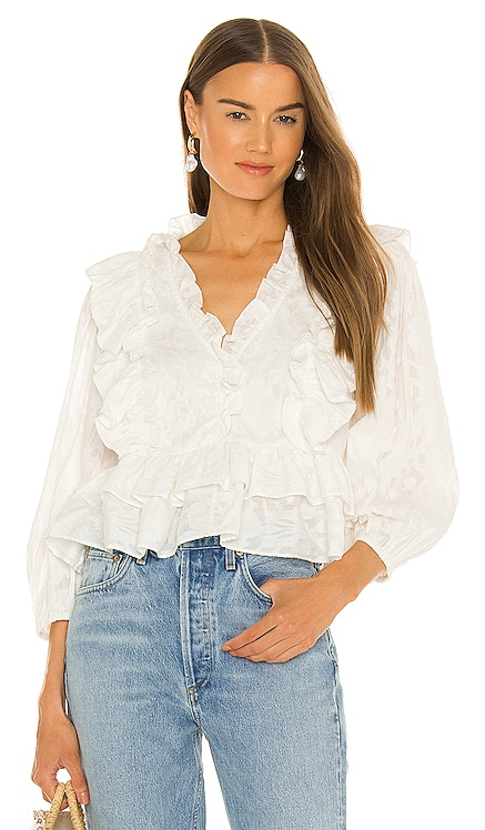 Audrey Ruffle Top Something Navy $115 NOUVEAU