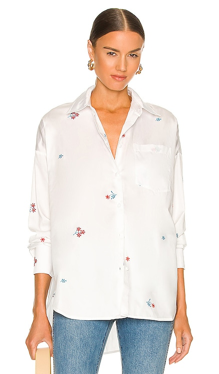 Embroidered Button Up Top Something Navy $125 NEW