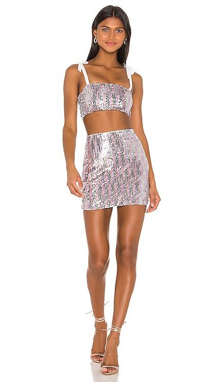 x Draya Michele Angelika Sequin Skirt Set superdown $82
