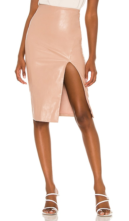 Jezabel Faux Leather Midi Skirt superdown $58