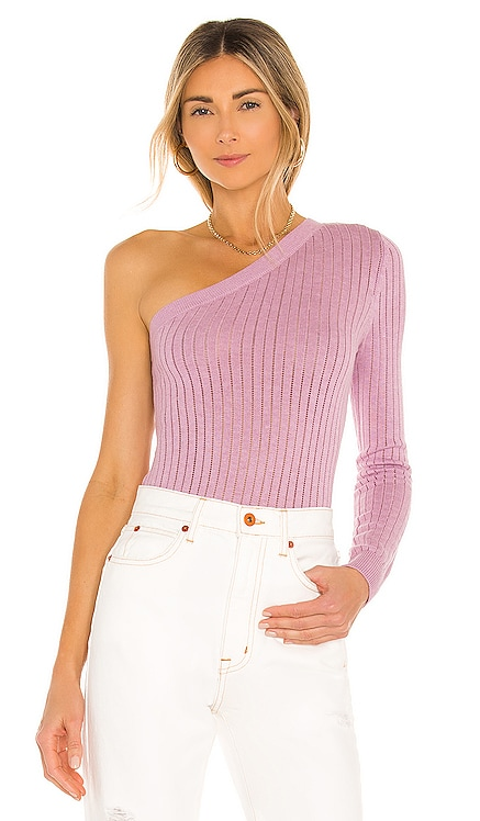 Gibson One Shoulder Top Stitches & Stripes $88 NEW