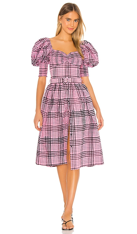 Puff Sleeve Midi Dress SWF $329 NEW