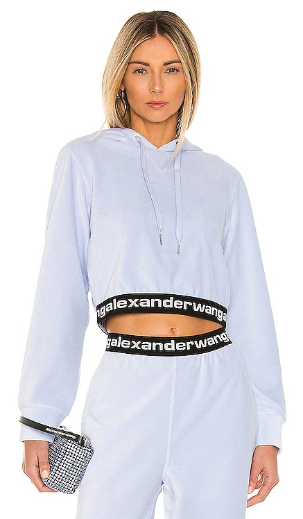 Stretch Corduroy Cropped Long Sleeve Hoodie T by Alexander Wang $265