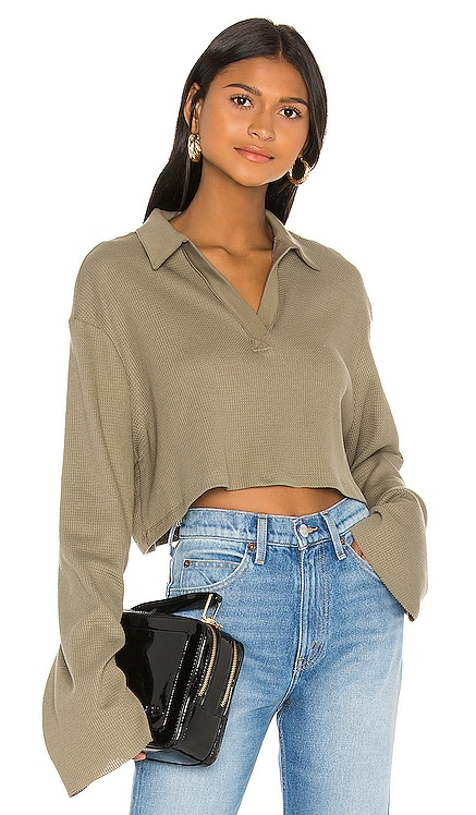 Stark Waffle Knit Cropped Polo The Range $165