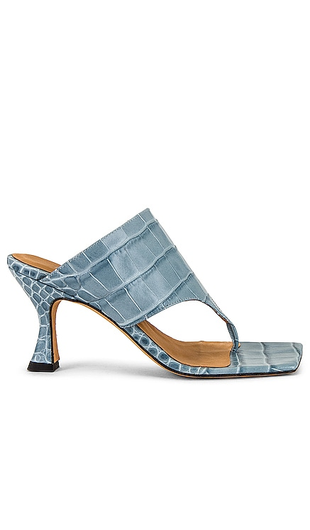 Blue Animal Print Suede T Bar Sandals TORAL $245