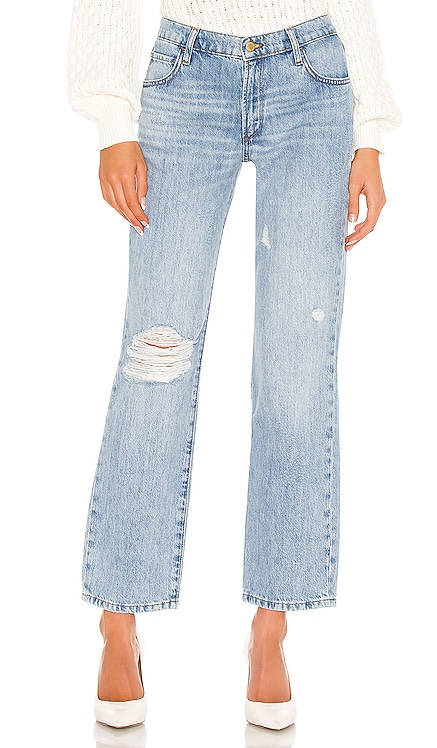 Mid Rise Straight Leg Distressed Jean Triarchy $199 NEW