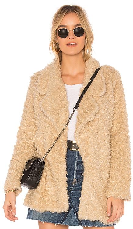 Violet Faux Shag Coat Tularosa $86