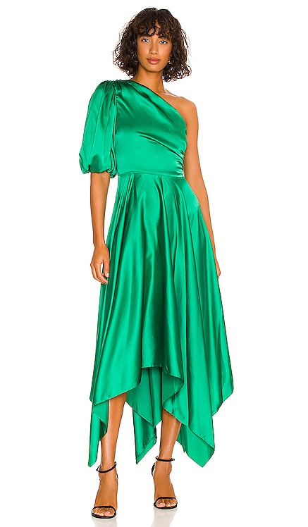 Puff Sleeve Midi Dress AMUR $628 NEW