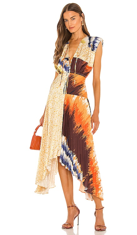 Milan Pleated Midi Dress AMUR $528 NEW
