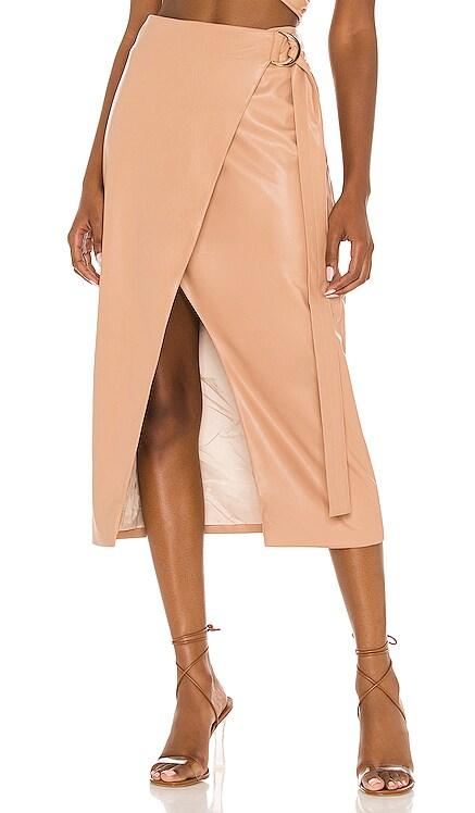 Faux Leather Wrap Skirt AMUR $378