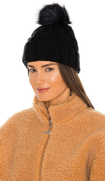Knit Cable Beanie with Faux Fur Pom UGG $55 NEW