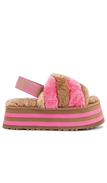 Disco Stripe Fur Sandal UGG $110 NEW