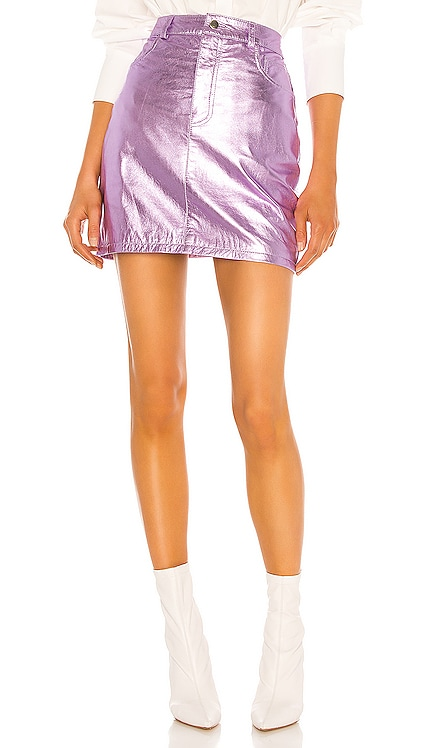 Metallic Mini Skirt Understated Leather $108