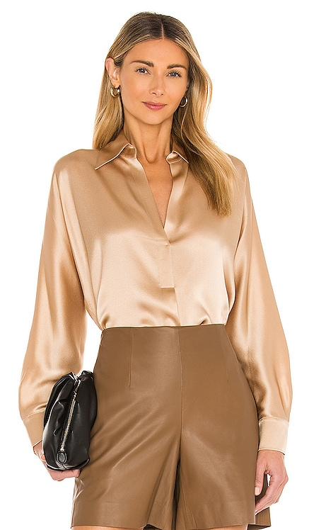Shaped Collar Popover Top Vince $325