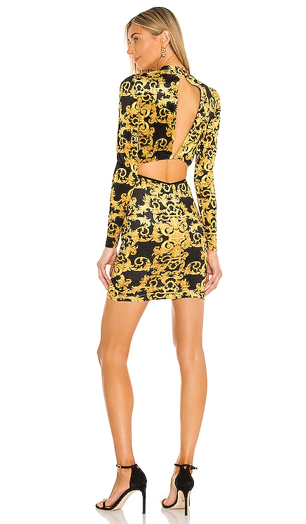 Logo Baroque Velvet Dress Versace Jeans Couture $495