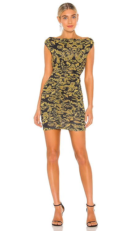 Paisley Gold Print Dress Versace Jeans Couture $425 NEW