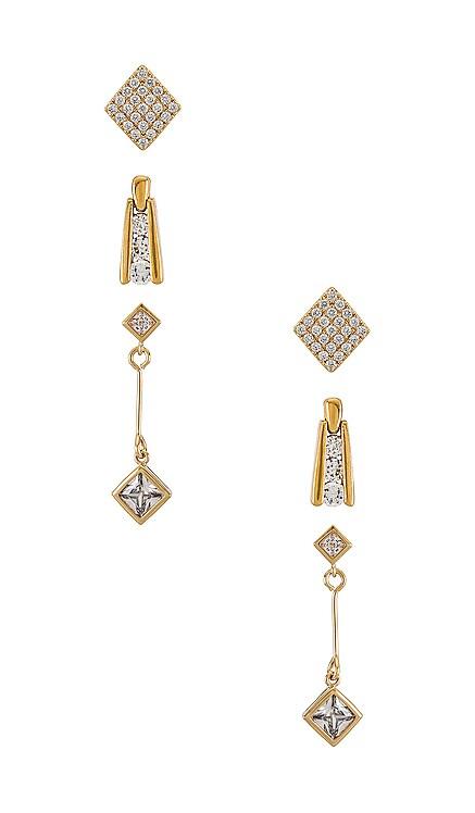 ENSEMBLE DE BOUCLES D'OREILLES THE DECO DIAMOND Vanessa Mooney $97 NOUVEAU