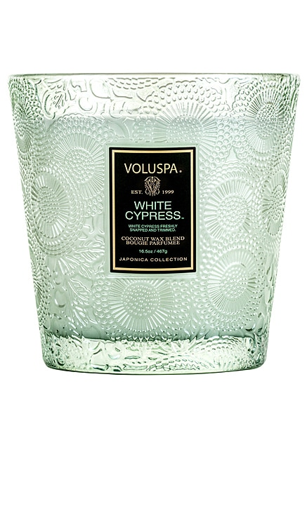 White Cypress Boxed 2 Wick Glass Candle Voluspa $40