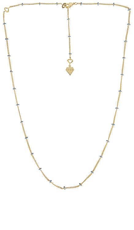 Beaded Baby Blue Enamel Chain Necklace Wanderlust + Co $45 NEW