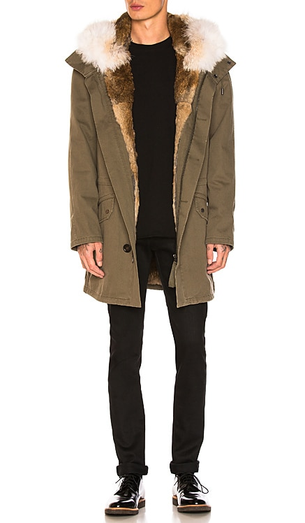 Cotton Parka with Rabbit and Coyote Fur Yves Salomon $1,534