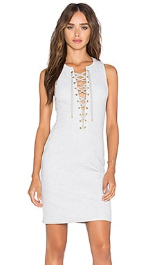 Lace Up Tank Dress in Grey Melange
