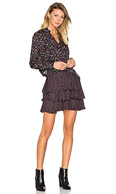 2-in-1 Ruffle Shirt Dress in Midnight Multi