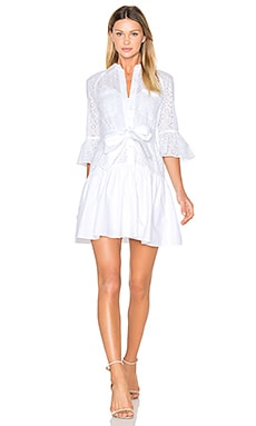 Button Down Ruffled Hem Shirt Dress en Blanc Optique