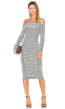Long Sleeve Off The Shoulder Midi Dress en Soft White Multi