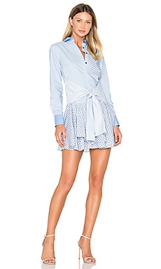 Tied Waist Mini Dress in Oxford Multi