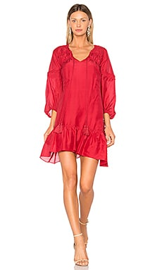 Bell Sleeve Ruffle Solid Dress in Chili