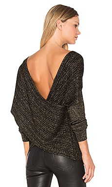 Cross-Front Sweater in Black & Gold