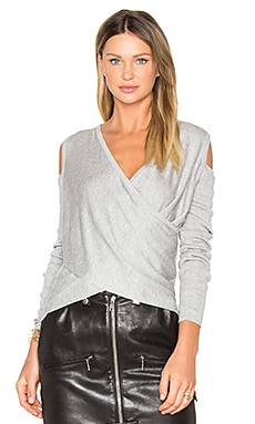 Cross Front Cut Out Shoulder Sweater in Gray