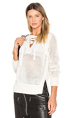 Lace Up V Neck Sweater in Natural