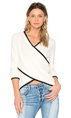 Cross-Front Sweater in Ivory & Black