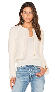 Short Fringe Detail Jacket in Cream